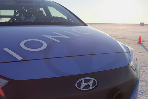 Hyundai Ioniq Hybrid wallpaper titled Hyundai Ioniq Hybrid prototype speed record front end detail