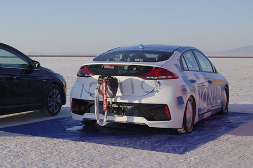 Hyundai Ioniq Hybrid wallpaper titled Hyundai Ioniq Hybrid prototype speed record rear three quarter