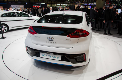 Hyundai Ioniq Hybrid wallpaper called Hyundai Ioniq Hybrid rear three quarters