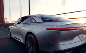 Golden Gate Bridge Lucid Air luxury sport autonomous electric sedan