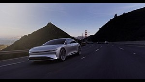 Golden Gate Bridge driving away Lucid Air luxury sport autonomous electric sedan