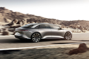 side profile in motion Lucid Air luxury sport autonomous electric sedan