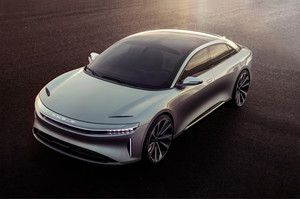 Lucid Motors Air front three quarter Lucid Air luxury sport autonomous electric sedan