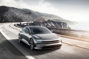 Lucid Motors Air front three quarter in motion Lucid Air luxury sport autonomous electric sedan