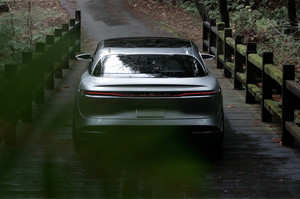 Lucid Motors Air rear end slight overhead Lucid Air luxury sport autonomous electric sedan