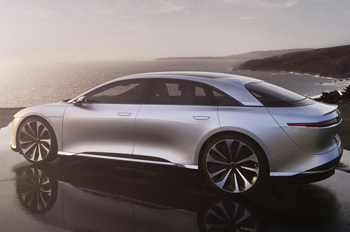 Lucid Air wallpaper called Lucid Motors Air rear side oceanside Lucid Air luxury sport autonomous electric sedan