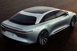 Lucid Motors Air rear three quarters overhead Lucid Air luxury sport autonomous electric sedan