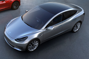 Tesla Model 3 front view from above in silver