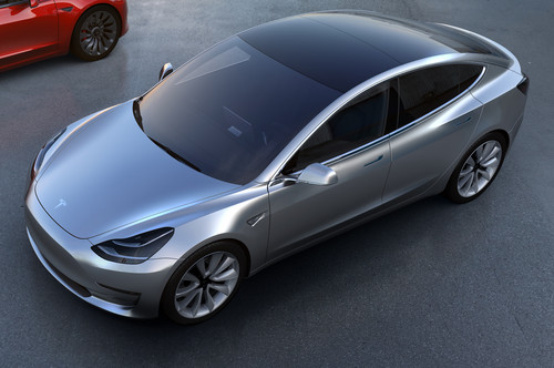 Tesla Model 3 wallpaper titled Tesla Model 3 front view from above in silver