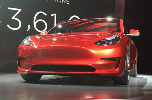 Tesla Model 3 wallpaper called Tesla model 3 live red front view