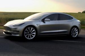 Tesla Model 3 side front view parked