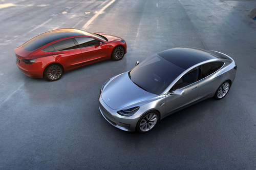 Tesla Model 3 wallpaper entitled Tesla Model 3 front and rear views from above