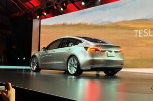 Tesla Model 3 live gray rear view