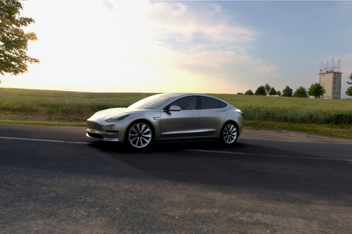Tesla Model 3 wallpaper called Tesla Model 3 side front view parked with scenery