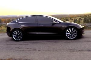 Tesla Model 3 side view in black