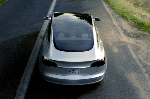 Tesla Model 3 wallpaper called Tesla Model 3 from behind and above