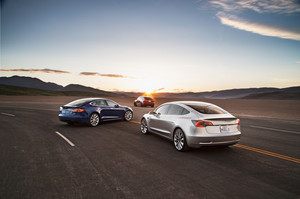 rear quarter 2018 Tesla Model 3 60D AWD electric sport luxury sedan