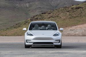 front silver 2018 Tesla Model 3 60D AWD electric sport luxury sedan