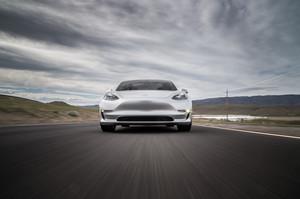 front low 2018 Tesla Model 3 60D AWD electric sport luxury sedan