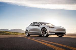 front three quarter low 2018 Tesla Model 3 60D AWD electric sport luxury sedan