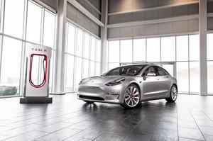 front low three quarter 2018 Tesla Model 3 60D AWD electric sport luxury sedan