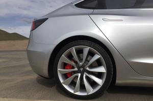 rear tire red brakes wheels 2018 Tesla Model 3 60D AWD electric sport luxury sedan