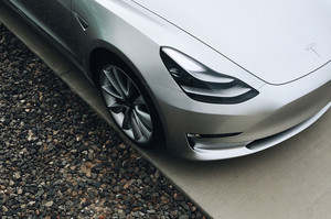 front overhead headlamp 2018 Tesla Model 3 60D AWD electric sport luxury sedan
