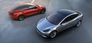 Tesla Model 3 electric sport sedan 60D AWD overhead silver and red
