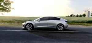 Tesla Model 3 electric sport sedan 60D AWD silver side