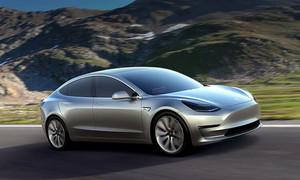 Tesla Model 3 electric sport sedan 60D AWD silver three quarter mountains
