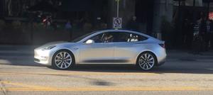 silver side street 2018 Tesla Model 3 70D AWD electric sport sedan
