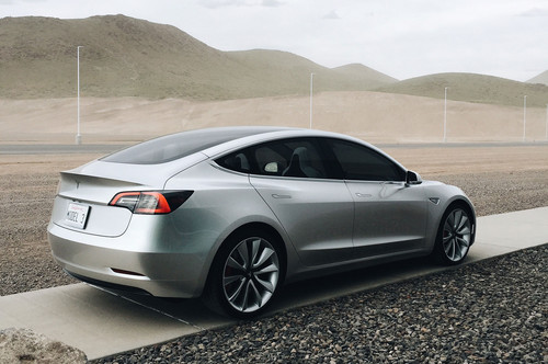Tesla Model 3 70D AWD wallpaper called silver rear quarter 2018 Tesla Model 3 70D AWD electric sport sedan
