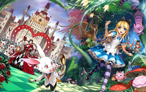Alice in Wonderland wallpaper titled Alice in Wonderland Anime Illustration