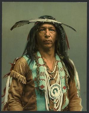 Arrowmaker (Ojibwe brave) 1903 (image colored)