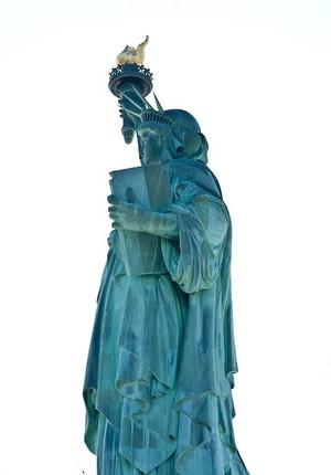 Backlit Statue of Liberty