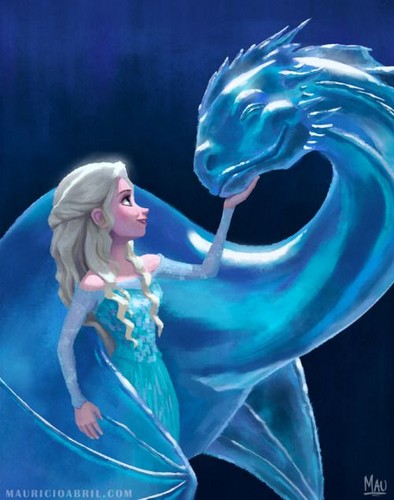 Dragons wallpaper entitled Elsa and Ice Dragon