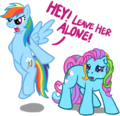 G4 Rainbow Dash defends G3 Rainbow Dash - rainbow-dash fan art