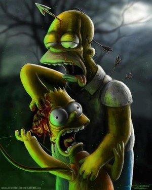 Homer and Bart Zombies