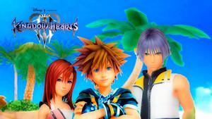 Kingdom Hearts III Destiny Islands Trios Sora Kairi and Riku logo edited