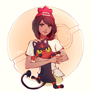 Litten and Trainer