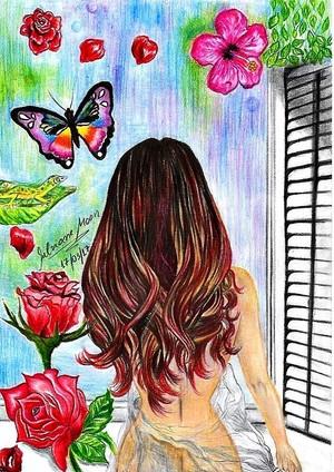 MULHER NA JANELA, desenho de Silviane Moon
