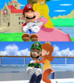 Mario x pesca, peach and Luigi margherita MMD Amore