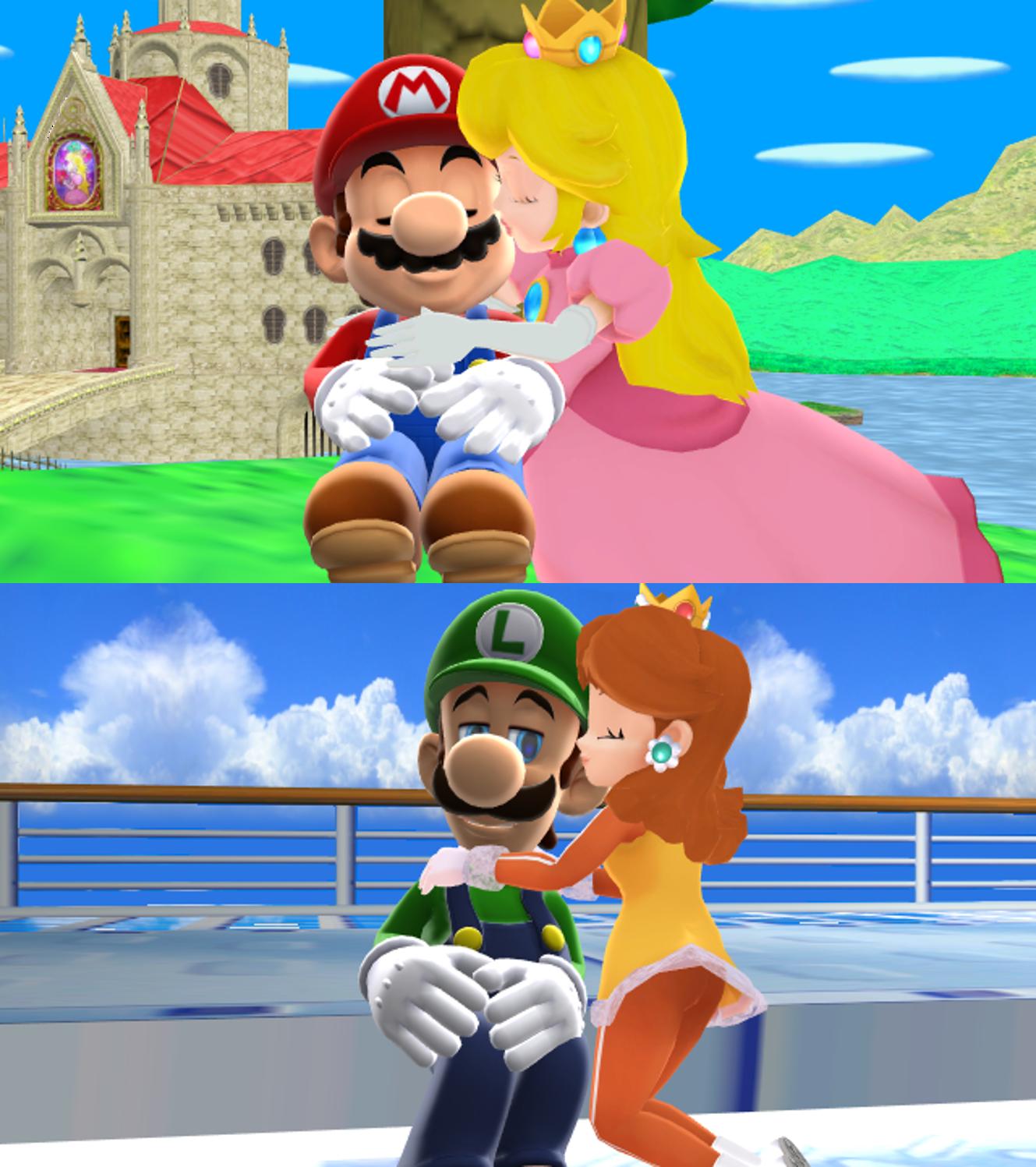 Mario x pêche, peach and Luigi marguerite, daisy MMD l'amour