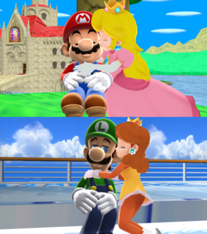 Mario x pêssego and Luigi margarida MMD amor
