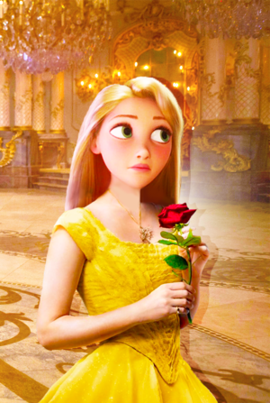 Rapunzel in live action Belle's yellow dress