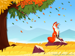 Red zorro, fox in Autumn