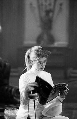 Rosamund Pike (on set of Die Another Day)