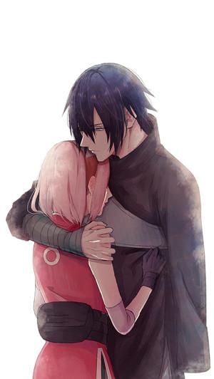 Sasuke and Sakura hug