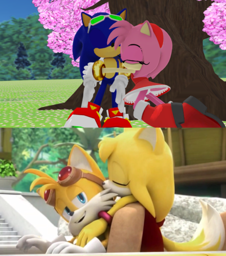 Sonic fond d'écran called Sonic x Amy and Tails x Zooey Same and Different