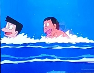 Suneo and Gian swimming